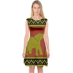 Elephant Pattern Capsleeve Midi Dress