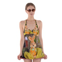 Easter Hare Easter Bunny Halter Swimsuit Dress