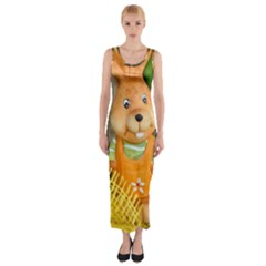 Easter Hare Easter Bunny Fitted Maxi Dress