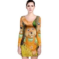 Easter Hare Easter Bunny Long Sleeve Velvet Bodycon Dress