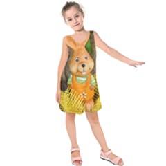 Easter Hare Easter Bunny Kids  Sleeveless Dress