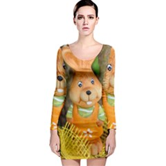 Easter Hare Easter Bunny Long Sleeve Bodycon Dress