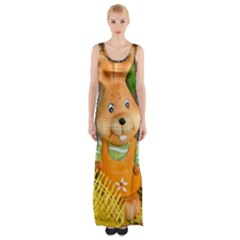 Easter Hare Easter Bunny Maxi Thigh Split Dress