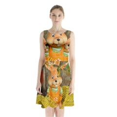 Easter Hare Easter Bunny Sleeveless Chiffon Waist Tie Dress