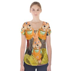 Easter Hare Easter Bunny Short Sleeve Front Detail Top