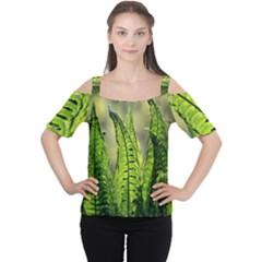 Fern Ferns Green Nature Foliage Women s Cutout Shoulder Tee