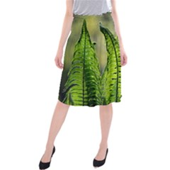 Fern Ferns Green Nature Foliage Midi Beach Skirt