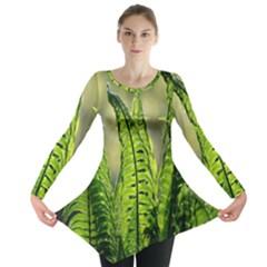 Fern Ferns Green Nature Foliage Long Sleeve Tunic