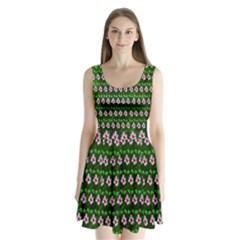 Floral Pattern Split Back Mini Dress