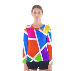 Geometric Blocks Women s Long Sleeve Tee