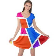 Geometric Blocks Cap Sleeve Dresses