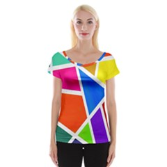 Geometric Blocks Women s Cap Sleeve Top