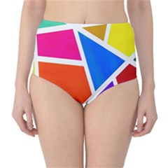Geometric Blocks High-Waist Bikini Bottoms