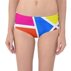 Geometric Blocks Mid-Waist Bikini Bottoms