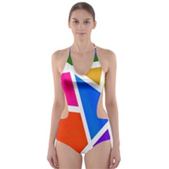 Geometric Blocks Cut Out One Piece Swimsuit