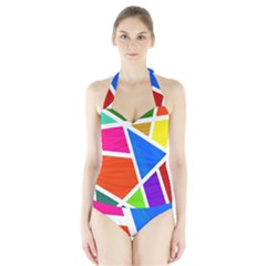 Geometric Blocks Halter Swimsuit
