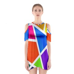 Geometric Blocks Shoulder Cutout One Piece