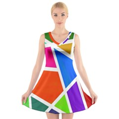 Geometric Blocks V Neck Sleeveless Skater Dress