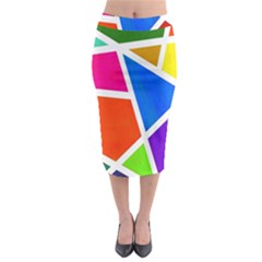 Geometric Blocks Midi Pencil Skirt