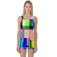 Glitch Art Abstract One Piece Boyleg Swimsuit