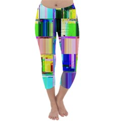 Glitch Art Abstract Capri Winter Leggings