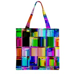 Glitch Art Abstract Zipper Grocery Tote Bag