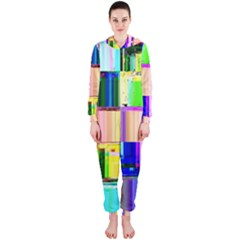 Glitch Art Abstract Hooded Jumpsuit (Ladies)