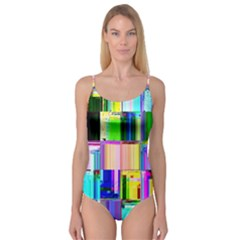 Glitch Art Abstract Camisole Leotard
