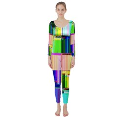 Glitch Art Abstract Long Sleeve Catsuit