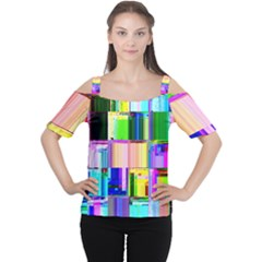 Glitch Art Abstract Women s Cutout Shoulder Tee