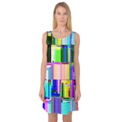 Glitch Art Abstract Sleeveless Satin Nightdress
