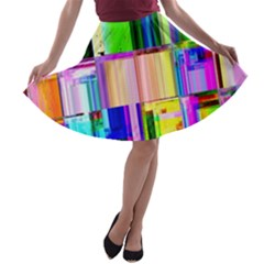 Glitch Art Abstract A-line Skater Skirt