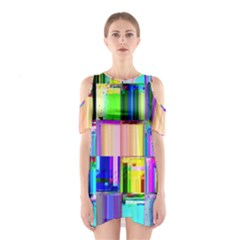 Glitch Art Abstract Shoulder Cutout One Piece