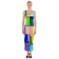 Glitch Art Abstract Fitted Maxi Dress