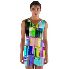 Glitch Art Abstract Wrap Front Bodycon Dress