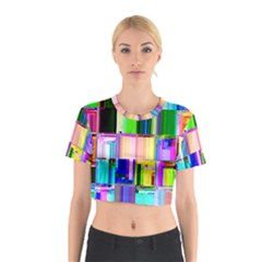 Glitch Art Abstract Cotton Crop Top