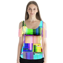 Glitch Art Abstract Butterfly Sleeve Cutout Tee