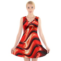 Fractal Mathematics Abstract V-Neck Sleeveless Skater Dress