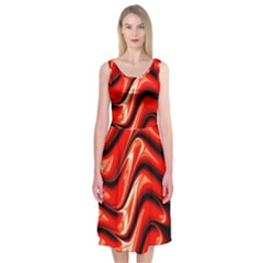 Fractal Mathematics Abstract Midi Sleeveless Dress