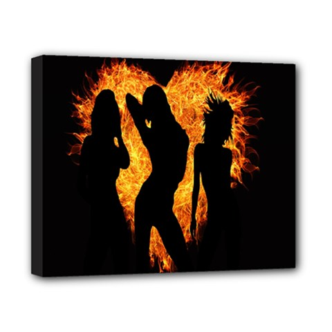 Heart Love Flame Girl Sexy Pose Canvas 10  x 8