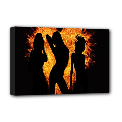 Heart Love Flame Girl Sexy Pose Deluxe Canvas 18  x 12