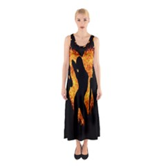 Heart Love Flame Girl Sexy Pose Sleeveless Maxi Dress