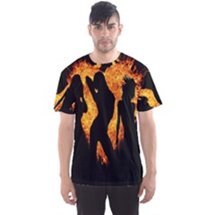 Heart Love Flame Girl Sexy Pose Men s Sport Mesh Tee