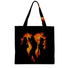 Heart Love Flame Girl Sexy Pose Zipper Grocery Tote Bag