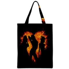 Heart Love Flame Girl Sexy Pose Zipper Classic Tote Bag