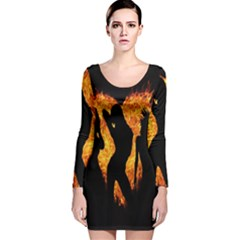 Heart Love Flame Girl Sexy Pose Long Sleeve Velvet Bodycon Dress