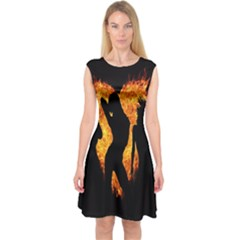 Heart Love Flame Girl Sexy Pose Capsleeve Midi Dress