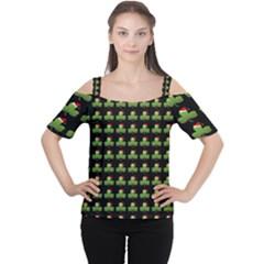 Irish Christmas Xmas Women s Cutout Shoulder Tee