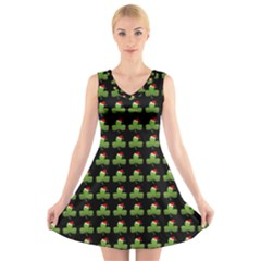 Irish Christmas Xmas V Neck Sleeveless Skater Dress