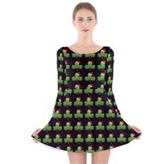 Irish Christmas Xmas Long Sleeve Velvet Skater Dress